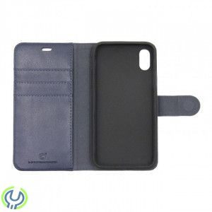 IPHONE X GENUINE LEATHER WALLET WITH TPU CASE COSMOS BLUE