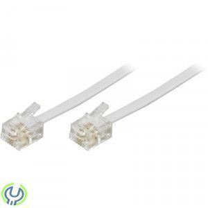 DELTACO modularkabel, 6P4C(RJ11) till 6P4C(RJ11), 10m, vit